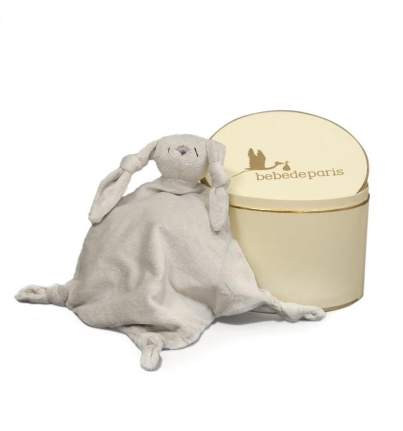 Doudou lapin et sa boite vintage