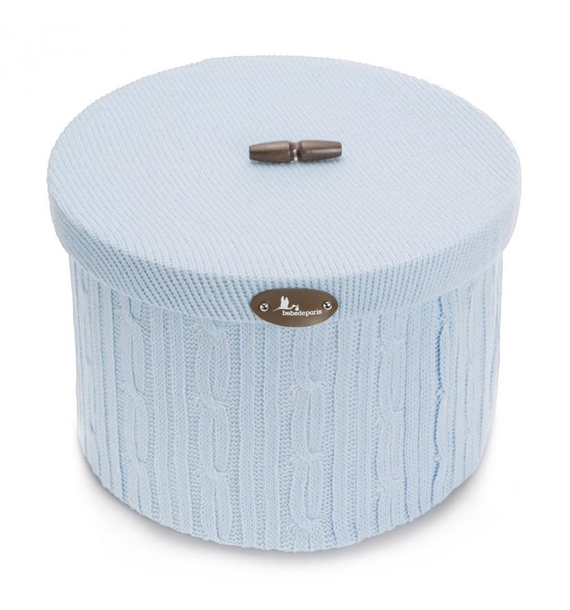 Round Wool Basket Blue L