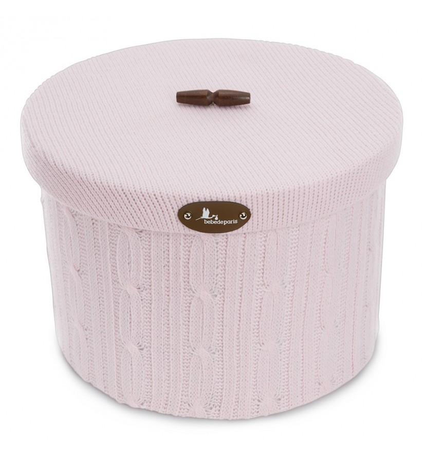 Round Wool Basket Pink L