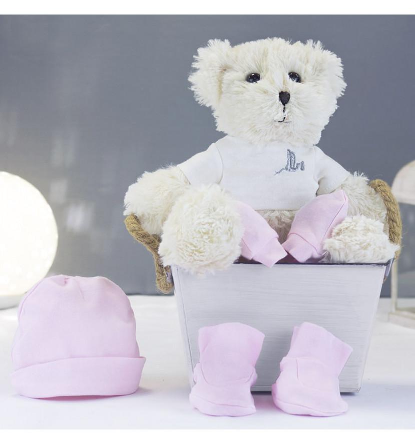 Kit ours en peluche et lot chaussettes bonnet et moufles rose
