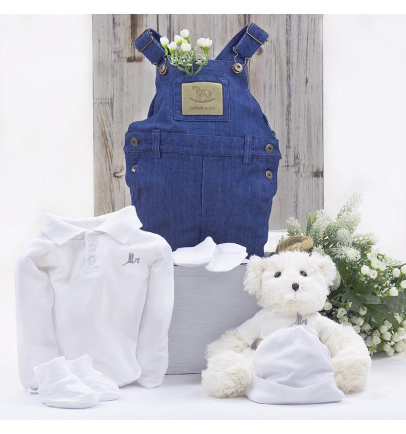 Trousseau ensemble salopette bébé avec ours en peluche white