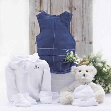 Ensemble Robe Nouveau née et Polo avec ours en peluche white