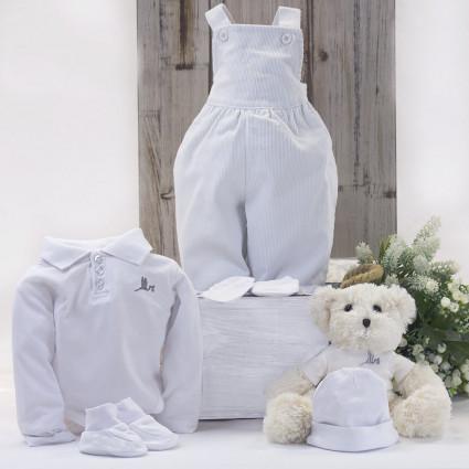 Ensemble Salopette Nouveau née et Polo avec ours en peluche white