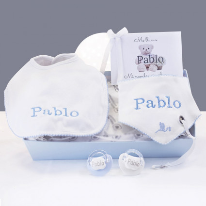 Kit cadeau bavoirs et sucettes personnalisés bleu