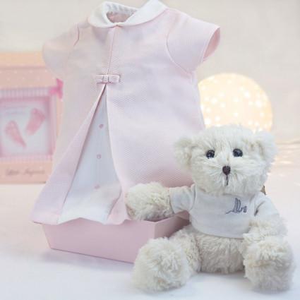 Robe bébé rose de 3-6 mois avec ours en peluche