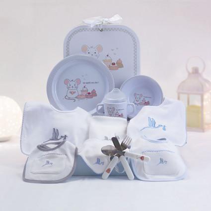 Cadeau vaisselle pour enfants et set de bavoirs nouveau-né blue