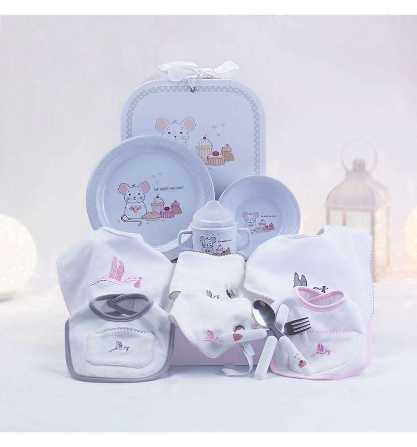 Cadeau vaisselle pour enfants et set de bavoirs nouveau-né rose