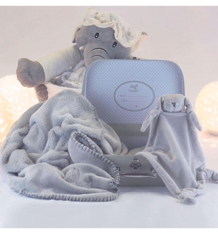 Coffret bébé valise couverture et doudou personnalisable