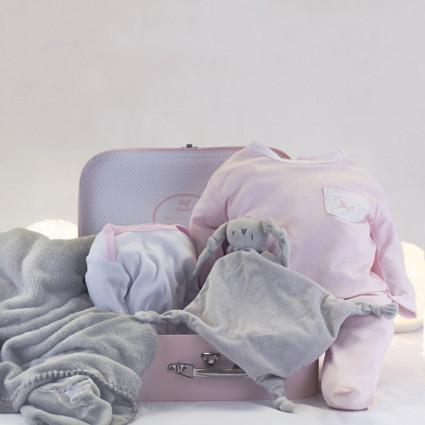 Coffret de naissance body couverture pyjama et doudou personnalisé rose