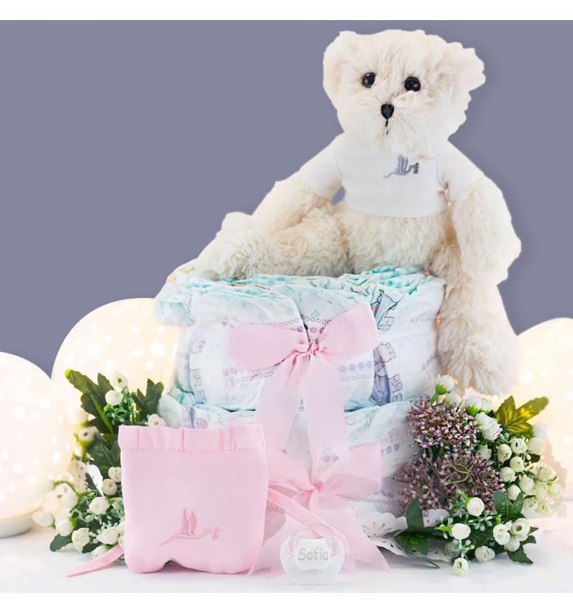 Gâteau de couches sucette personnalisée, housse et ours en peluche rose