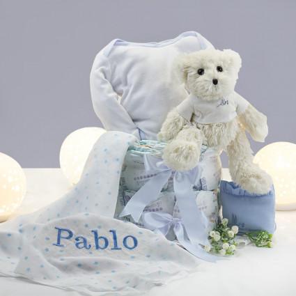 Gâteau de couches mousseline personnalisé pochette et ours en peluche bleu