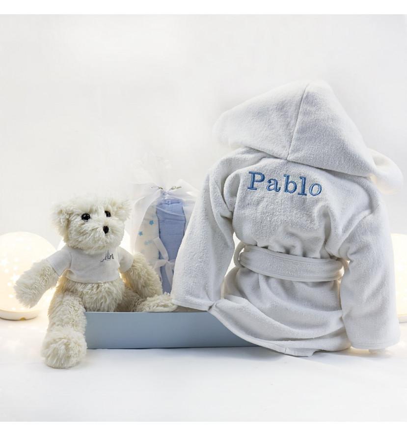 Kit peignoir brodé couverture et ours en peluche bleu