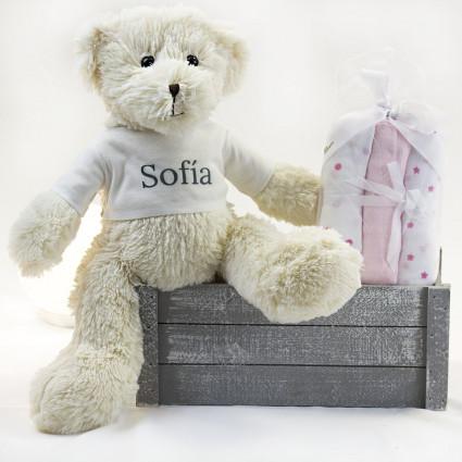 Coffret bébé mousselines et ours en peluche rose
