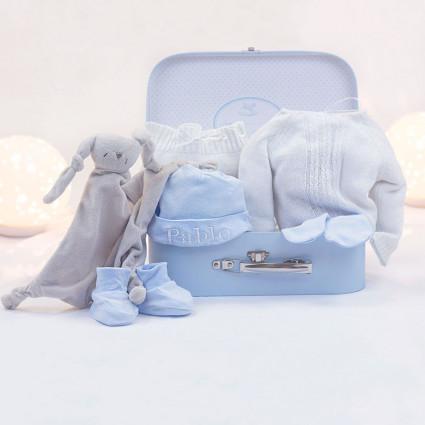 Coffret ensemble perlé doudou personnalisable moufles et chaussettes bleu