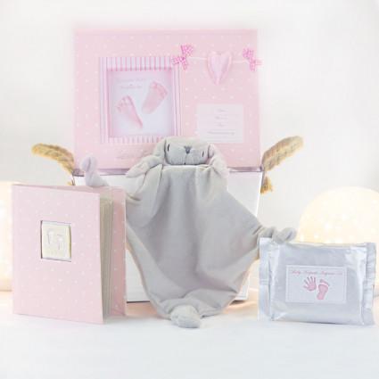 Cadre empreinte bébé avec doudou personnalisable rose
