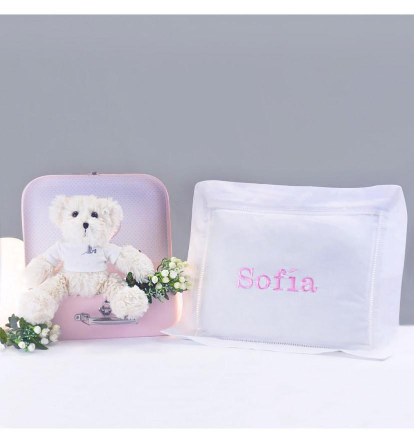 Coffret nouveau-né coussin personnalisé et ours en peluche rose