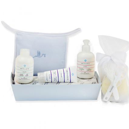 Lot de produits cosmétiques bio pour bébés bleu