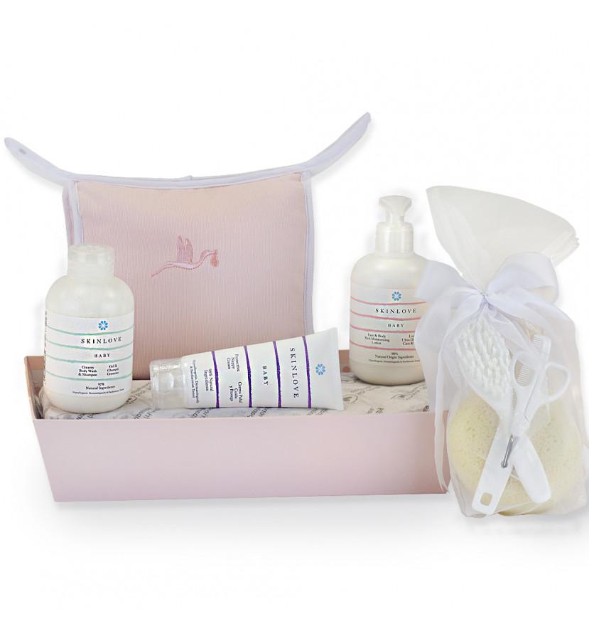 Lot de produits cosmétiques bio pour bébés rose