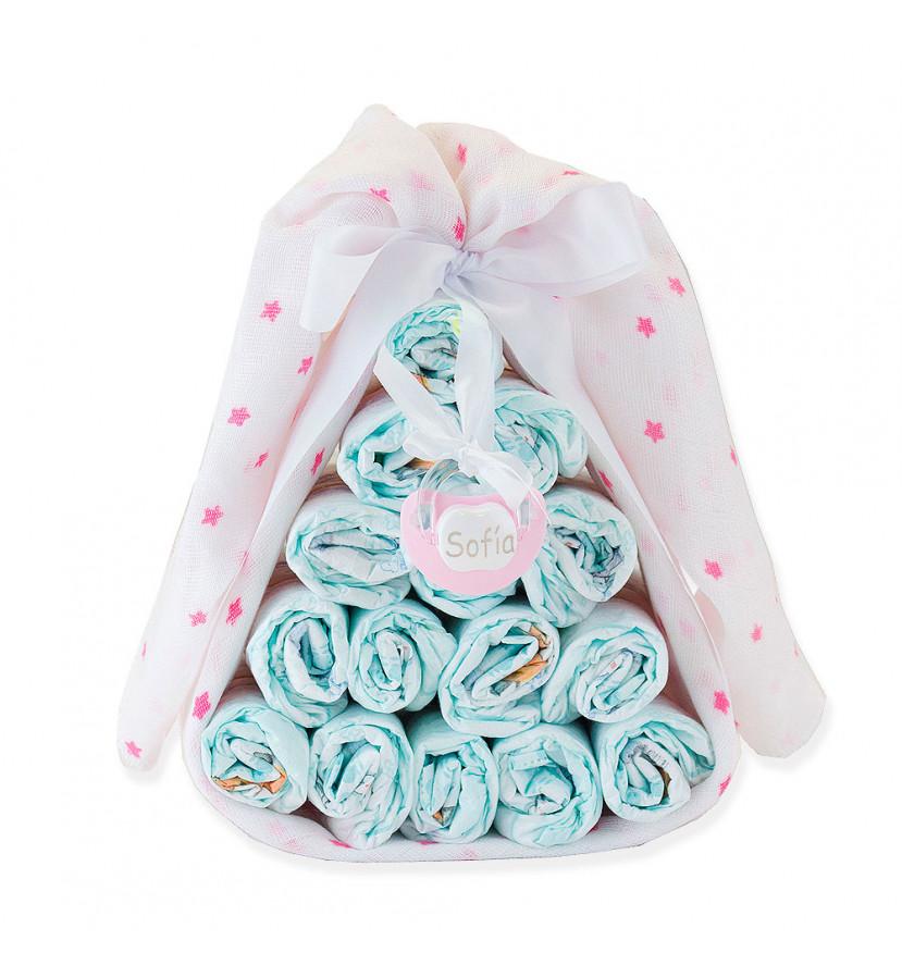 Bonbon de couches mousseline et tétine à personnaliser rose