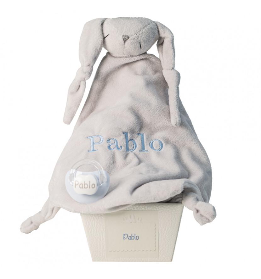 Doudou et tétine personnalisée avec le prénom du bébé bleu