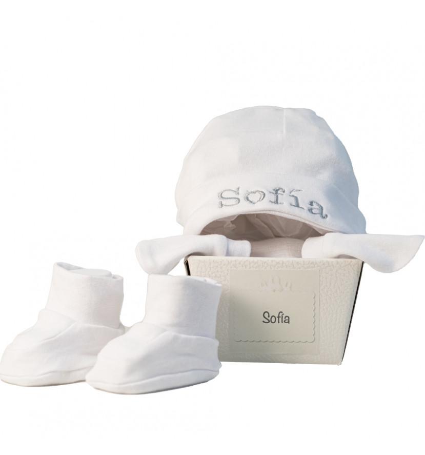 Ensemble personnalisé avec moufles et bonnet white