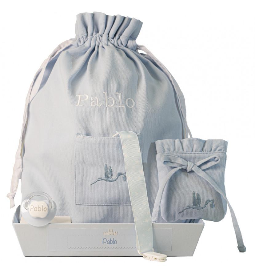 Lot avec tétine personnalisée, attache-tétines, pochette pour tétines et sac à langer bleu