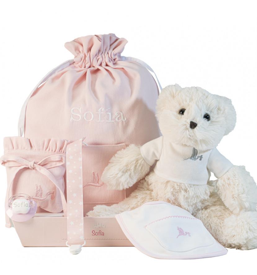 Layette personnalisée avec tétine et accessoires pour nouveau-nés rose