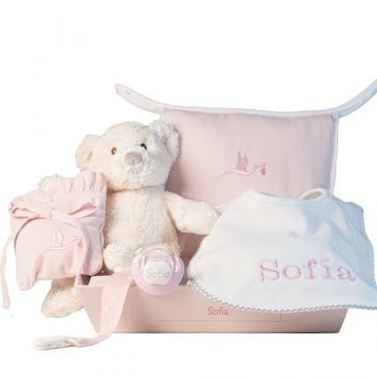 Layette avec bavoir et tétine personnalisés et accessoires pour nouveau-nés rose