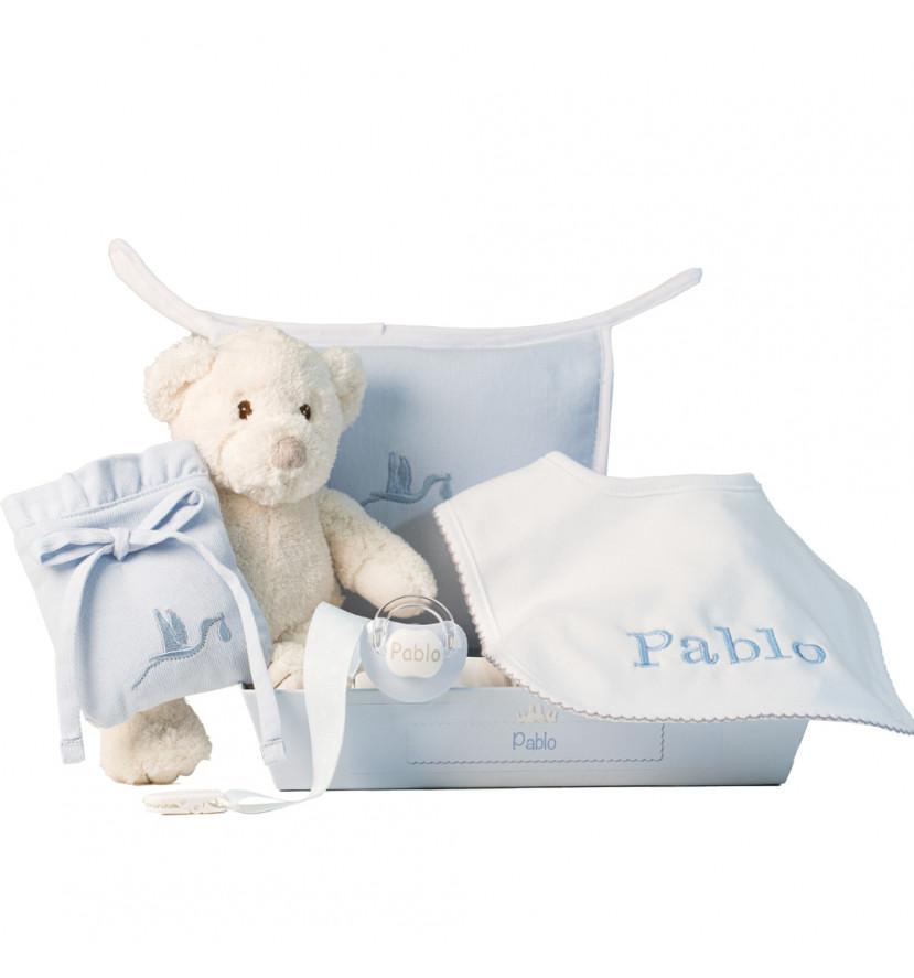 Layette avec bavoir et tétine personnalisés et accessoires pour nouveau-nés bleu