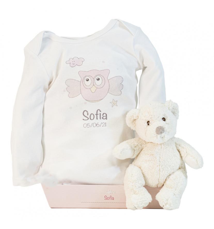 Ours en peluche et body personnalisés avec le prénom du bébé rose