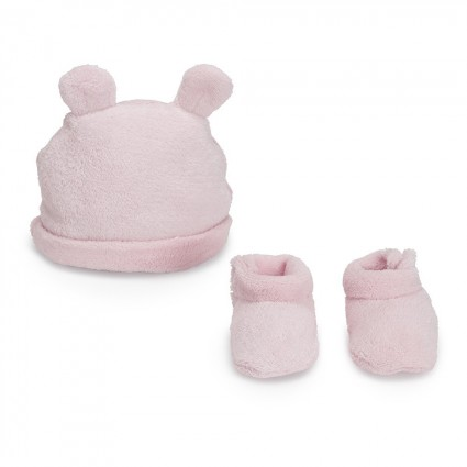 Pink Teddy Baby Hat-Booties Set