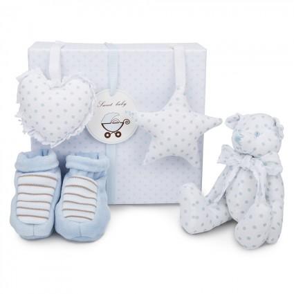 Blue Teddy Bear Baby Gift Set