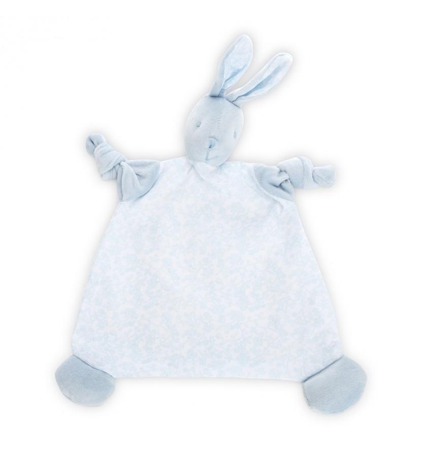 Doudou lapin vintage bleu